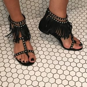 Saint Laurent Studded Fringe Sandal